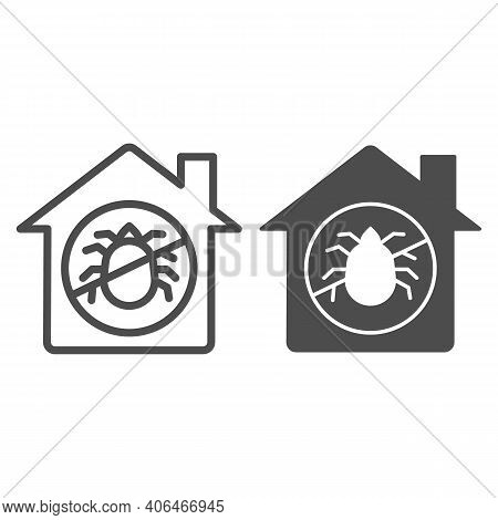 House With Ban On Insects Line And Solid Icon, Pest Control Concept, Ban Mites Sign On White Backgro