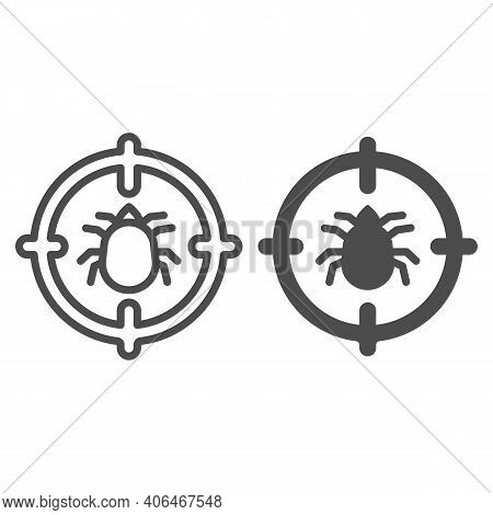 Flea In Target Line And Solid Icon, Pest Control Concept, Flea Warning Sign On White Background, Cat
