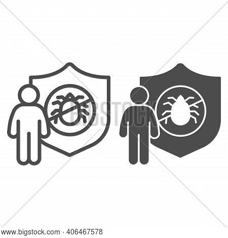 Man With Shield And Insect Line And Solid Icon, Pest Control Concept, Insect Control And Exterminati