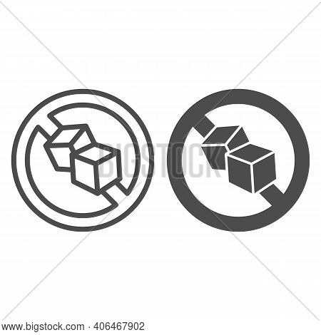 No Sugar Sign Line And Solid Icon, Diet Concept, No Sweets Dietary Sign On White Background, Sugar F