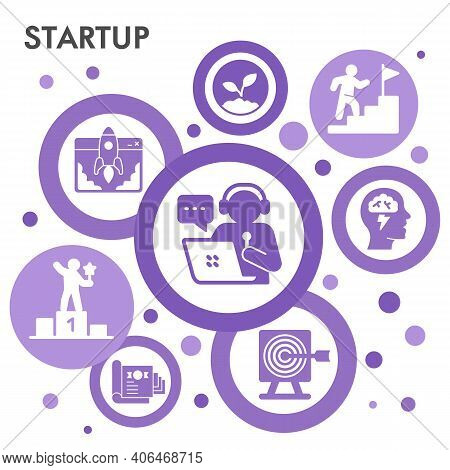 Modern Start Up Infographic Design Template With Icons. Business Startup Infographic Visualization I