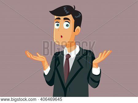 Funny Business Man Shrugging Shoulders Feeling Confused