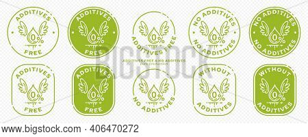 A Set Of Conceptual Stamps For Packaging Products. Labeling - No Additives. Stamp With A Flat Icon O