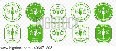 Conceptual Stamps For Product Packaging. Labeling - Hormone Free. A Syringe With Wings - A Symbol Of