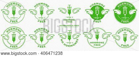 Conceptual Marks For Product Packaging. Labeling - Hormone Free. Brand With With Wings And Ingredien