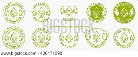 Conceptual Marks For Product Packaging. Labeling - No Flavor Enhancers. The Brand With Wings Is A Sy