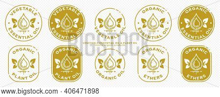 A Set Of Icons For Packaging Products. Labeling - Essential Oil From Natural Raw Materials. Butter P