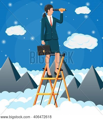 Businesswoman With Briefcase On Ladder Looking For Opportunities In Spyglass. Business Woman Look Up