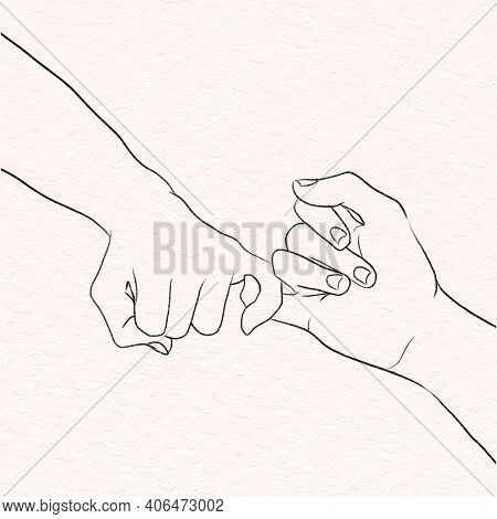 Romantic couple pinky promise black and white