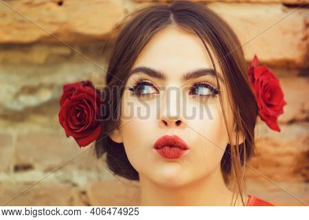 Curious Woman Or Cute Girl, Young Fashion Model With Red Lips, Makeup And Fresh Roses, Flowers In Br