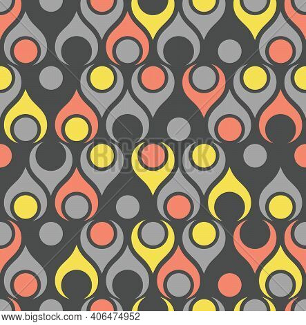 Seamless Abstract Midcentury Modern Pattern In Yellow And Grey For Backgrounds, Fabric Design, Wrapp