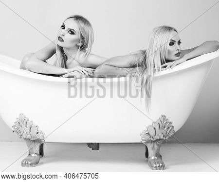 Young Woman Foreplay Lying In Tub, Intimacy Lovers, Sexy Women. Black White