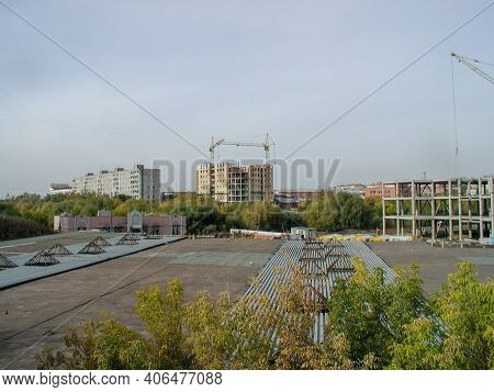 View Of The Construction Site Of The Building On Shcherbaneva Street In The City Of Omsk