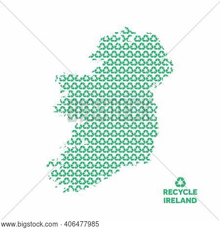 Ireland Map Made From Recycling Symbol. Environmental Concept