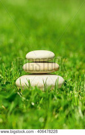Balancing Pile Of Pebble Stones, Like Zen Stone