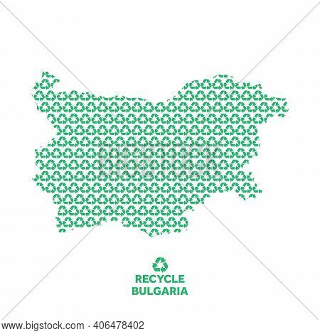 Bulgaria Map Made From Recycling Symbol. Environmental Concept