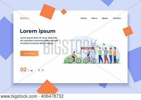 Cyclists Competing On City Bicycle Marathon. Activity, Crowd, Cityscape Flat Vector Illustration. Co