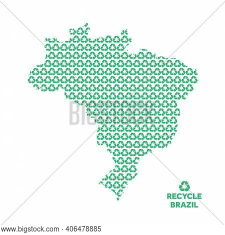 Brazil Map Made From Recycling Symbol. Environmental Concept