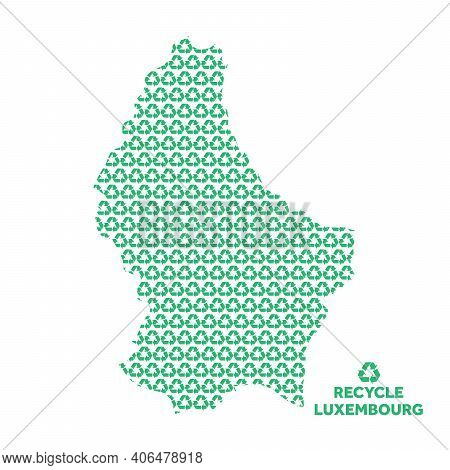 Luxembourg Map Made From Recycling Symbol. Environmental Concept