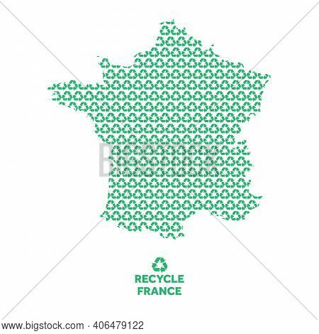 France Map Made From Recycling Symbol. Environmental Concept