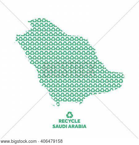 Saudi Arabia Map Made From Recycling Symbol. Environmental Concept