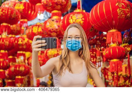 Beautiful Caucasian Tourist Woman In Tet Holidays. Vietnam Chinese Lunar New Year In Springtime Text
