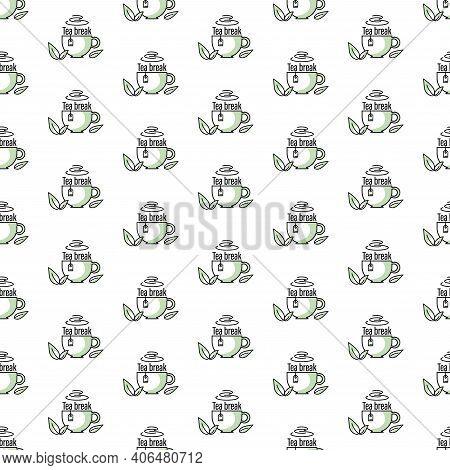 Tea Break. Green Tea. Cup, Green Fresh Mint Leaves.tea Background. Seamless Pattern. Design For Text