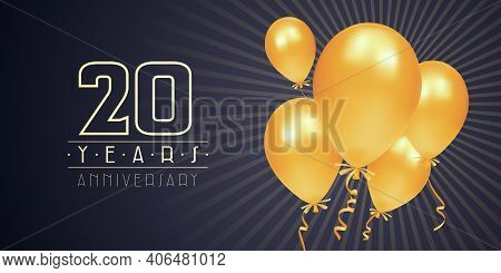 20 Years Anniversary Vector Logo, Icon. Graphic Element With Golden Color Balloons For 20th Annivers