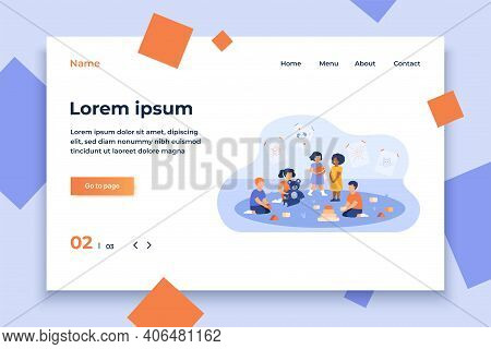Group Of Diverse Kids Playing In Kindergarten. Little Children With Toy Pyramid, Teddy Bear And Ball