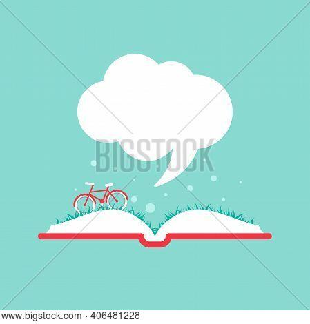 Open Book With Grass, Bike And Speech Bubble. Isolated On Blue Background. Vector Flat Illustration.