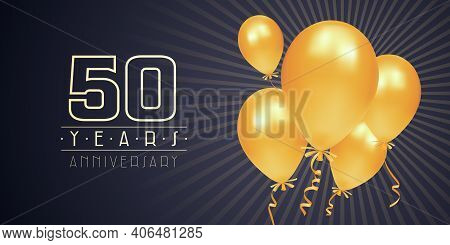 50 Years Anniversary Vector Logo, Icon. Graphic Element With Golden Color Balloons For 50th Annivers