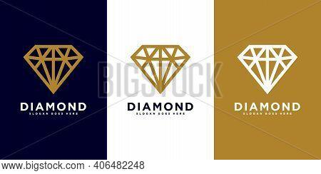 Diamond Logo Vector Designs Mono Line Premium Template