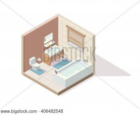 Vector Isometric Element Representing Restroom/bathroom/toilet. Room Includes Bath, Toilet, Cabinet