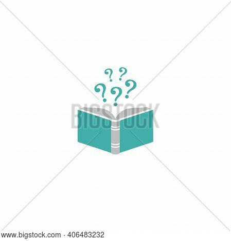 Open Book With Blue Book Cover And Question Marks. Isolated On White Background. Flat Vector Reading