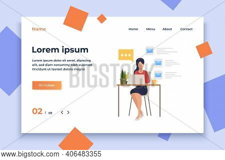 Businesswoman Answering E-mail In Office Vector Illustration. Secretary, Office Worker, Internet Com