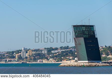 Portugal, Lisbon, October 08, 2018: Maritime Traffic Control Tower, Port Control Tower At River Tagu