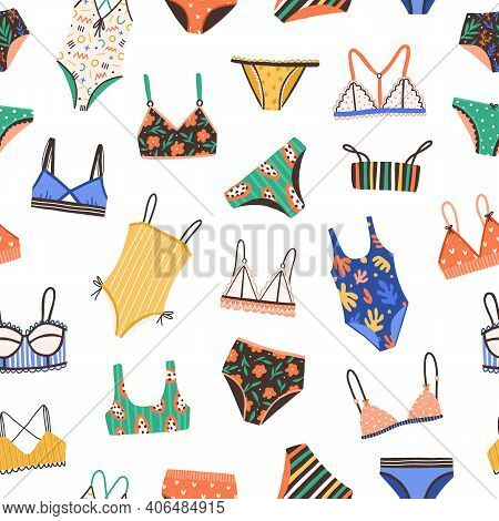 Seamless Pattern With Bikini And Swimsuit. Colorful Summer Backdrop With Female Bras And Panties Iso