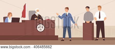 Advocate Or Barrister Giving Speech In Courtroom In Front Of Judge During Trial Process. Legal Defen