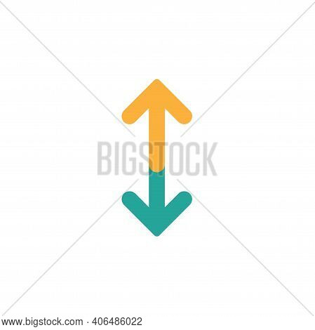 Flip Vertical Vector Icon. Two Orange And Blue Opposite Arrows Isolated On White. Flat Exchange Icon