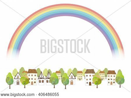 Idyllic Watercolor Townscape With A Rainbow Isolated On A White Background. Vector Illustration With