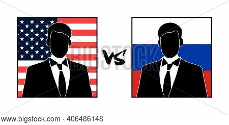 The Image Of Silhouettes Of Representatives Of The Usa And Russia, And Their Confrontation Or Dialog