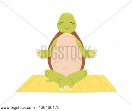 Cute And Funny Turtle Exercising Yoga Or Meditate. Calm And Happy Green Tortoise Character Sitting O