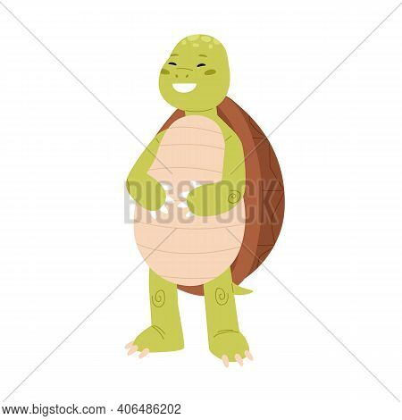 Cute And Happy Green Turtle Laughing And Holding Stomach. Funny Tortoise Character Standing On Back