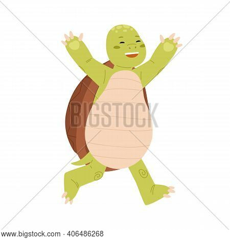 Cute And Happy Green Turtle Running With Paws Raised Up. Funny Tortoise Character Winning Race. Joyf