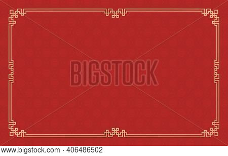 Rectangle Gold Frame Ornament With Red Background Pattern Chinese Ornament For Greeting Cards Chines
