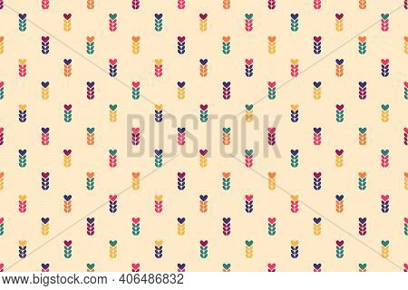 Chaotic Seamless Pattern Of Multicolored Spikelets And Hearts