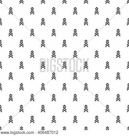 Seamless Pattern With Black Strokes On White Background. Ethnic Symmetric Background. Diagonal Rhomb