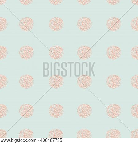 Seamless Pattern With Abstract Hand Drawn Dotty Spot Polka Background. Modern Scandinavian Geometric