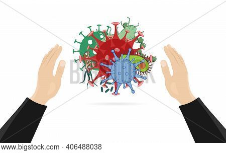 Human Hands Outstretched To The Virus And Bacteria On A White Background. Pandemic, Biohazard. The C