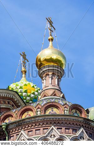 Church Of The Savior On Spilled Blood Domes, Saint Petersburg, Russia